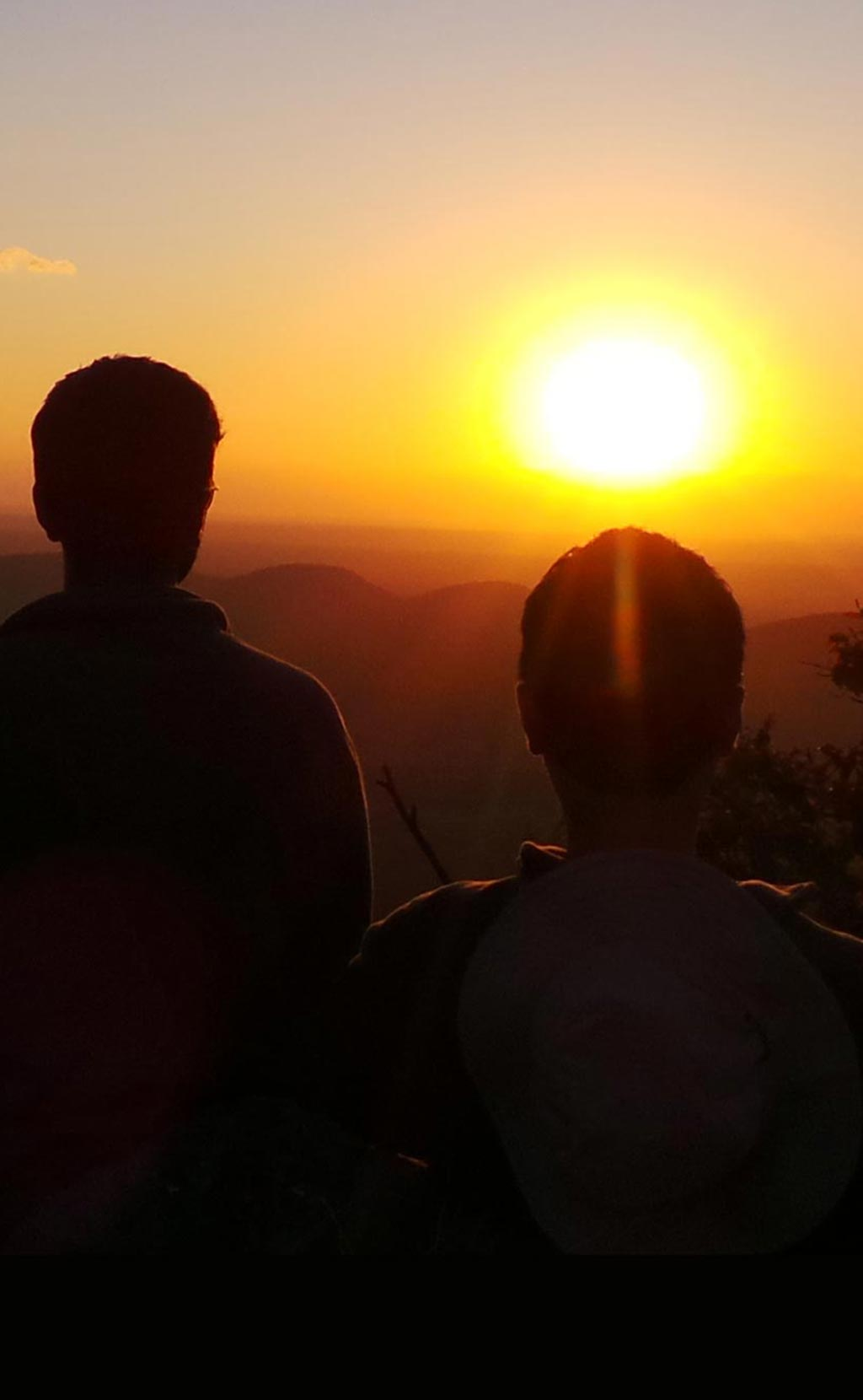 Adventurers viewing a Zambian sunset